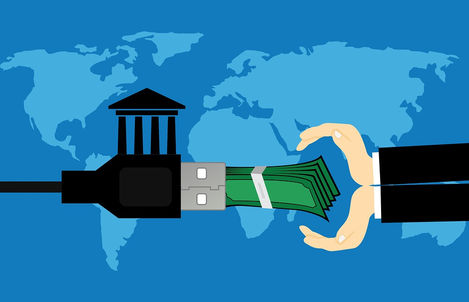 A Computer-Generated Image of a Cupped Pair of Hands Reaching for a Stack of Bills Being Delivered from a USB Cable With a House Hoisted Over it