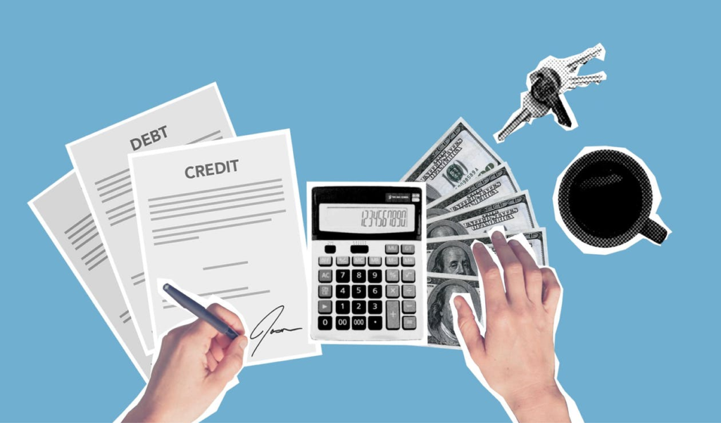 A Pair of Hands Signing a Document Labeled 'Credit' Lying on Top of a Document Labeled 'Debt', Lying Beside a Calculator, Dollar Bills, and A Set of Keys